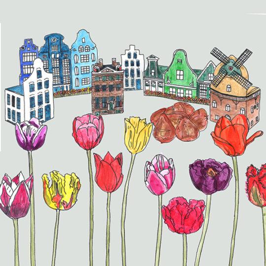 Häuser mit Blumenzwiebeln