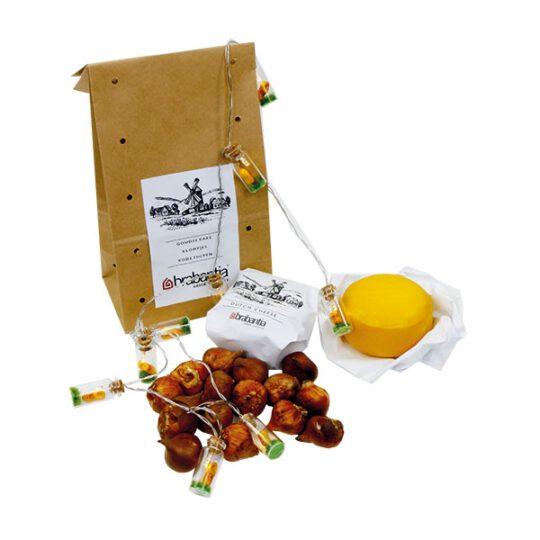 Gouds kaasje met tulpenbollen en mini-lampjes 'klomp'