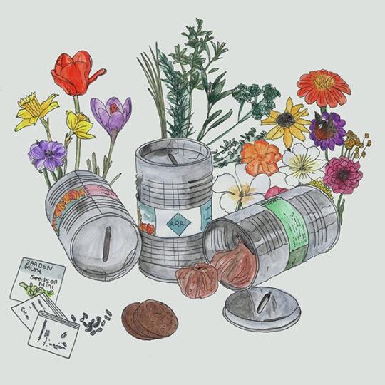 Sparschwein Ölfass mit Blumenzwiebeln